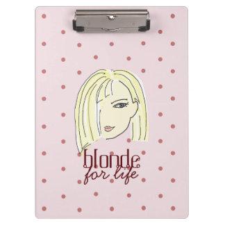 Blonde Girl Portrait Polka Dots Pink Cartoon Cool Clipboard