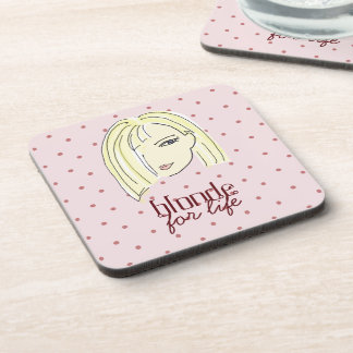 Blonde Girl Portrait Polka Dots Pink Cartoon Cool Coaster