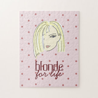 Blonde Girl Portrait Polka Dots Pink Cartoon Cool Jigsaw Puzzle
