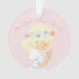 Blonde Girl Rosary Beads First Communion Ornament