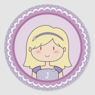 Blonde Girl Round Sticker