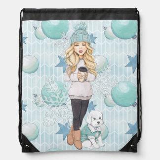 Blonde Girl with White Puppy Drawstring Bag