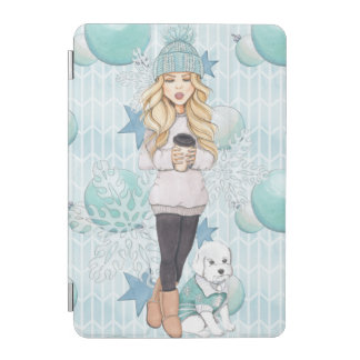 Blonde Girl with White Puppy iPad Mini Cover