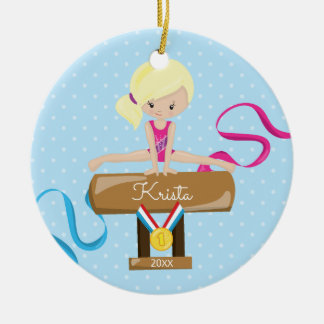 Blonde Gymnast Gymnastics Christmas Ornament