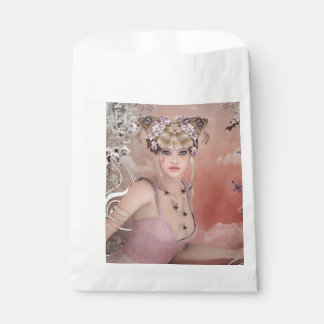 Blonde Hair girl with butterfly in pink dress Favour Bags