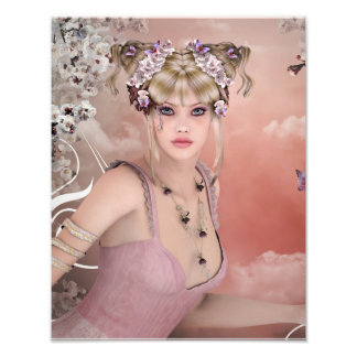 Blonde Hair girl with butterfly in pink dress Photo Art