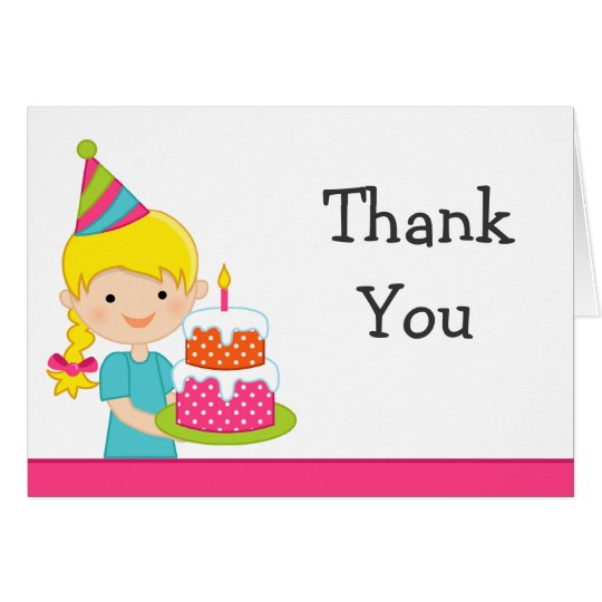 Blonde Haired Girl Birthday Party Thank You Card