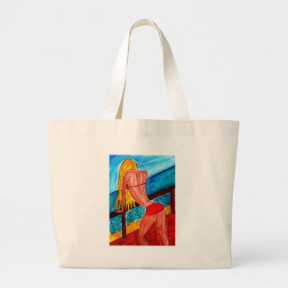 Blonde in Swimsuit Large Tote Bag