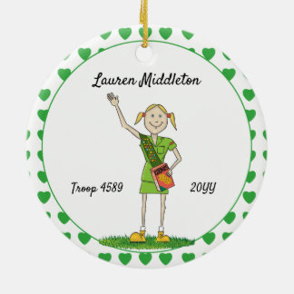 Blonde Junior Girl Scouting Green Heart Shape Ceramic Ornament