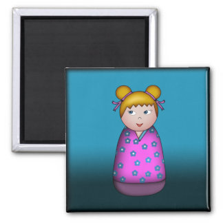 Blonde Kokeshi, square magnet
