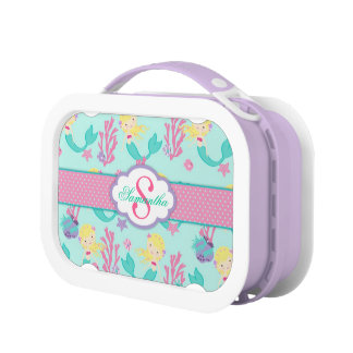 Blonde Mermaid and Monogram Lunch Boxes