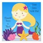 Blonde  Mermaid Custom Birthday Invitation 13 Cm X 13 Cm Square Invitation Card