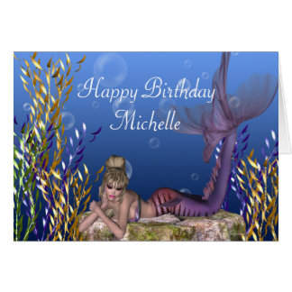 Blonde Mermaid Fantasy Customizable Birthday Card