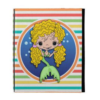 Blonde Mermaid on Bright Rainbow Stripes iPad Case