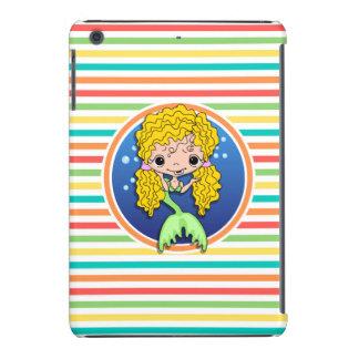 Blonde Mermaid on Bright Rainbow Stripes iPad Mini Retina Cases