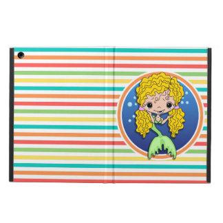 Blonde Mermaid on Bright Rainbow Stripes iPad Air Covers