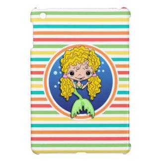 Blonde Mermaid on Bright Rainbow Stripes Cover For The iPad Mini