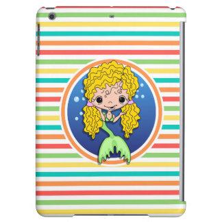 Blonde Mermaid on Bright Rainbow Stripes Case For iPad Air