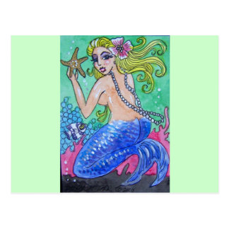 blonde mermaid postcard
