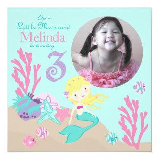 Blonde Mermaid Third Birthday 13 Cm X 13 Cm Square Invitation Card