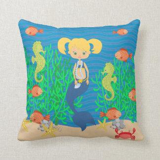 Blonde Mermaid Under The Sea Cushion