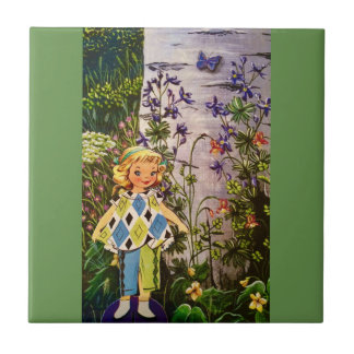 Blonde Nature Hiker Ceramic Tile