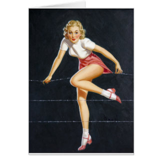 Blonde on Wire Pin Up Card