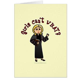 Blonde Pastor Girl Greeting Card