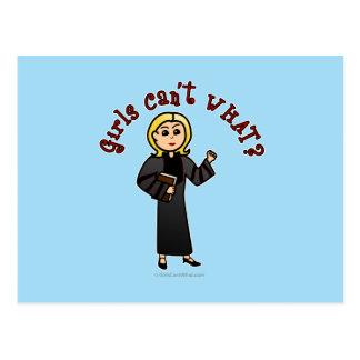 Blonde Pastor Girl Postcard