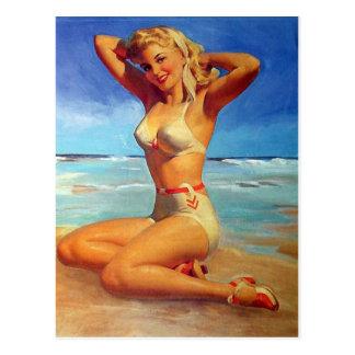 Blonde Pinup Girl Postcard