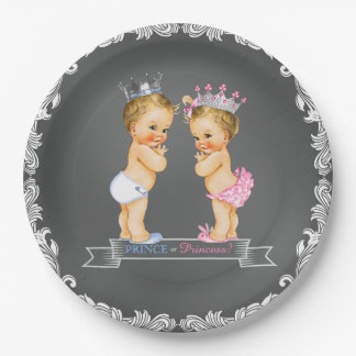 Blonde Prince and Princess Chalkboard Baby Shower 9 Inch Paper Plate