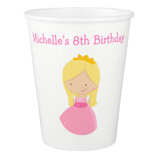 Blonde Princess and Dragon Birthday Party Paper Cup