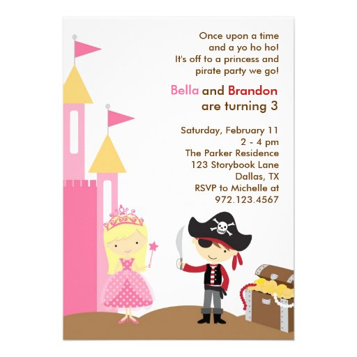 Blonde Princess and Pirate Invitation Personalized Announcement