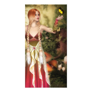 Blonde Red Hair Girl with Butterfly Picture Card