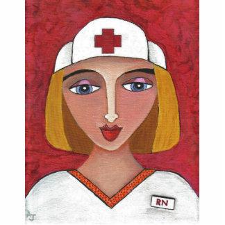 Blonde RN - folk art nurse Christmas ornament Photo Sculpture Decoration
