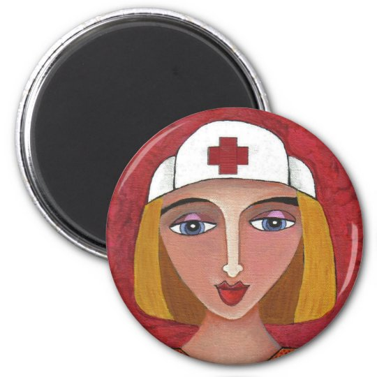 Blonde RN - folk art nurse / nursing magnet