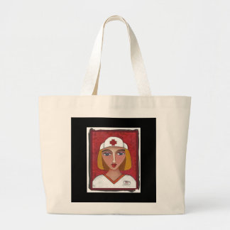Blonde RN - folk art nurse / nursing tote bag