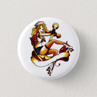 Blonde Roller Girl Sailor 3 Cm Round Badge