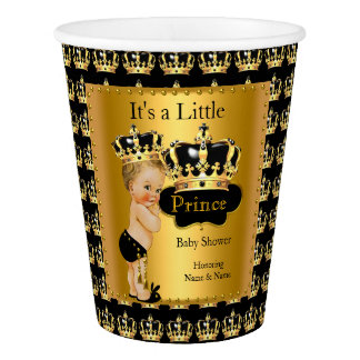Blonde Royal Black Gold Prince Crown Baby Shower Paper Cup