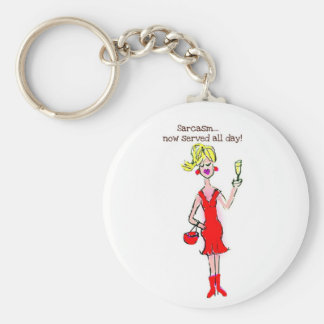 "BLONDE SPEAK: ""Sarcasm...now served all day!"" Key Ring"