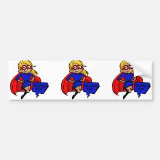 blonde super mom bumper sticker
