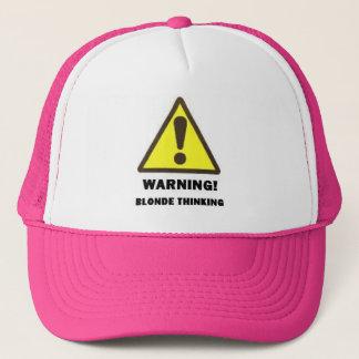 blonde thinking trucker hat