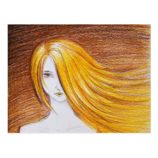 Blonde Wind Girl postcard
