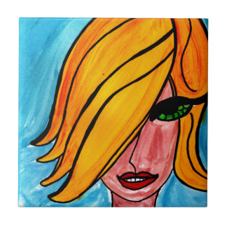 Blonde with Green Eyes Small Square Tile
