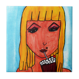 Blonde with Milk Shake Small Square Tile