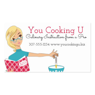 Blonde woman cooking baking cracking eggs pack of standard business cards