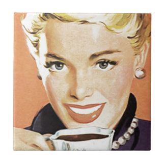 Blonde Woman Drinking Coffee Small Square Tile
