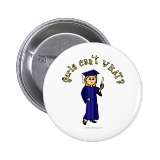Blonde Woman Graduate in Blue Gown 6 Cm Round Badge