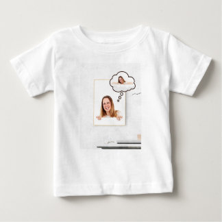 Blonde Woman Thinking on White Board Baby T-Shirt