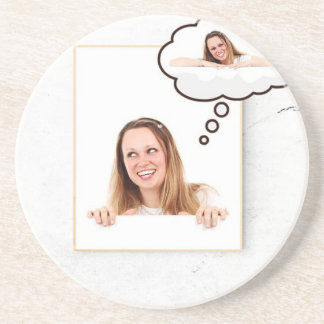 Blonde Woman Thinking on White Board Coaster